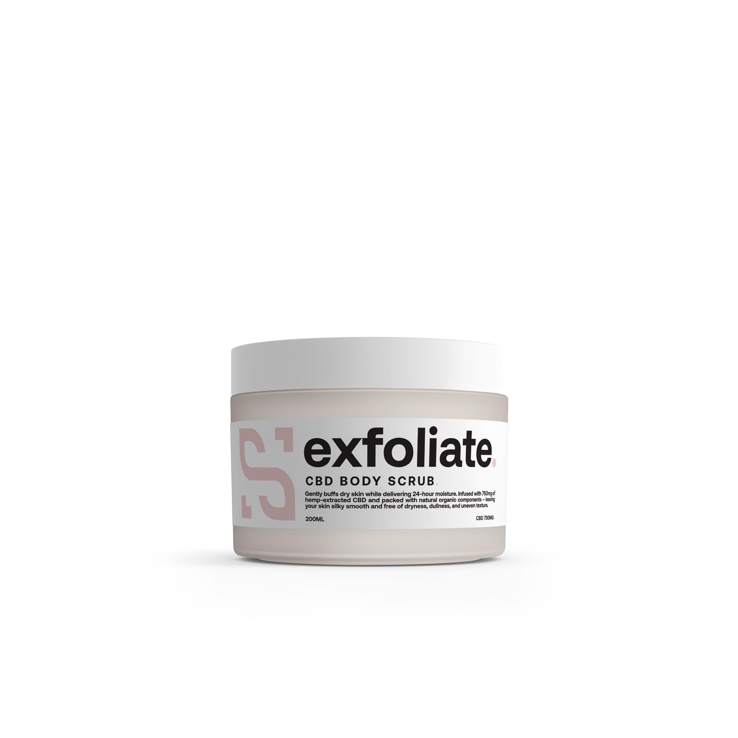 CBD body exfoliate scrub jar